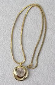 ladies necklace watch images Vintage sheffield wind up running ladies pendant watch gold tone jpg