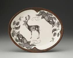 zindel design deer small serving dish fallow buck and hops