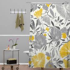 Yellow And White Shower Curtain Interior Yellow And Gray Floral Pattern Shower Curtain Combined