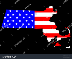 State Flag Of Massachusetts Map State Massachusetts American Flag Stock Vector 3020482