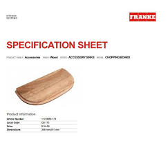 franke sink accessories chopping board buy franke accessory sinks chopping board wood at accent bath for