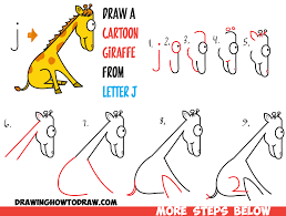 how to draw a cartoon giraffe from lowercase letter j shape in