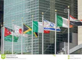 Outside Flag Flags Outside United Nations Building In New York Stock Image