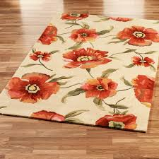Green And Brown Area Rugs Broken White Rug With Orange Flowers Also Green Leaves Placed On