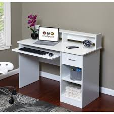 comfort products onespace white wood essential computer desk and