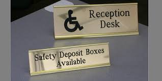 Reception Desk Signs Office Signs Architectural Signage Braille Ada Compliant Egress