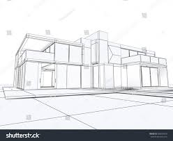 3d rendering building perspective draft mode stock illustration