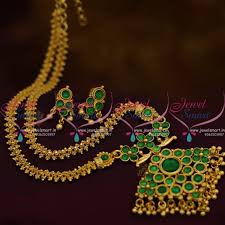 green stone necklace pendant images Nl9656 gold plated gajri chain kemp green stones pendant screwback JPG