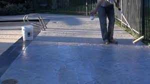 staining old concrete patio how to stain u0026 seal an old pool deck youtube