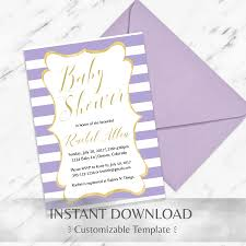 instant download baby shower invitations lilac striped baby shower invitation template instant download