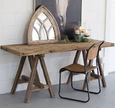 iron horse table base recycled wood table with saw horse legs rustic console tables