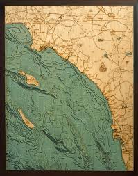 custom wood charts of los angeles to san diego from carved lake