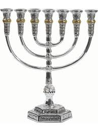 menorah 7 branch 7 branch menorah temple of jerusalem silver and gold plated holy land