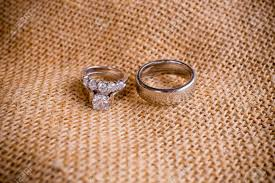 Used Wedding Rings by A Burlap Sack Cloth Is Used To Set Rings On For A Wedding Day