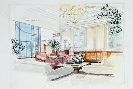 color pencil free hand sketch of an interior a living room stock