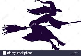 silhouette witch flying on broom halloween symbol vector stock