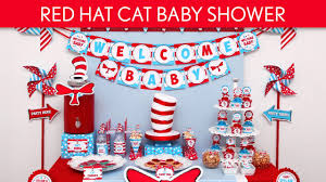red hat cat baby shower party ideas red hat cat s25 youtube