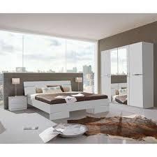 chambre complète coloris blanc et chrome vente de lit adulte