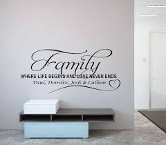 family where life begins personalised wall decal sticker
