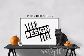 halloween frame png mockup mockups halloween cat pumpkin wall frame print large