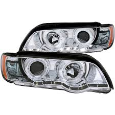 bmw headlights anzo usa bmw x5 e53 00 03 projector headlights halo chrome