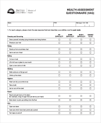 Resume Questionnaire Template Health Assessment Template Click Here To Download This Health
