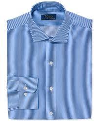 light blue striped polo dress lyst polo ralph lauren slim fit powder blue bold stripe dress
