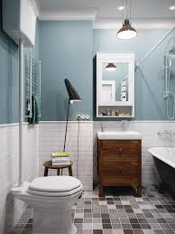 Blue Bathroom Fixtures Mesmerizing Scandinavian Painted Blue Bathroom With Floor L And