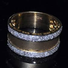 10mm diamond mens diamond wedding band wide 10mm 0 58ct 10k white gold or