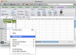 how to update pivot table ms excel 2011 for mac how to refresh a pivot table