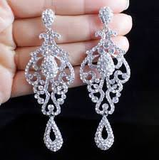 silver dangle earrings for prom pageant earrings ebay