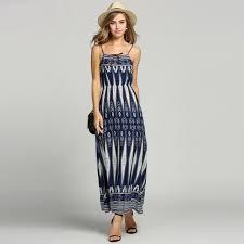 2016 summer halter geometric long print dress empire waist