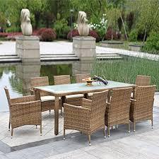 tavoli da giardino rattan ikayaa 9pcs rattan pat esterna io tavolo da pranzo mobili da