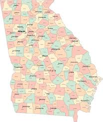 Augusta Ga Map Multi Color Georgia Map With Counties Capitals And Major Cities