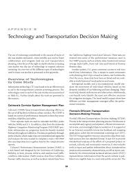 appendix b technology and transportation decision making