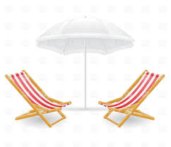 Clip On Umbrellas For Beach Chairs Striped Beach Chair Chaise Longue And Sunshade Vector Image
