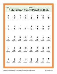 Ist Grade Math Worksheets Grade Math Subtraction Timed 0 3 Kindergarten 1st Grade