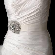 bridal belt wedding sash bridal belt with silver clear leaf brooch 129