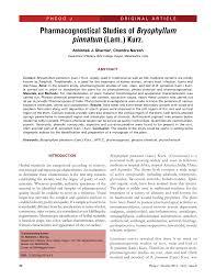 pharmacognostical studies of bryophyllum pinnatum lam kurz pdf