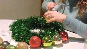 easy christmas ornament wreath youtube