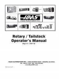 haas 96 0315p rotary tailstock operators manual relay