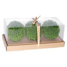 Artificial Topiaries - artificial topiary balls in box set of 3 green 4