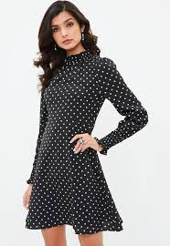dress pic black polka dot high neck dress missguided