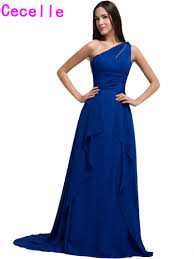 compare prices on one shoulder royal blue bridesmaid dresses