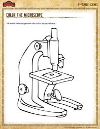 color the microscope 2 u2013 science worksheet for second grade