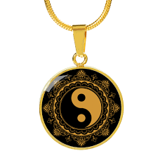 black charm necklace images Gold ying yang symbol gold charm necklace with circle charm png