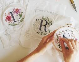 floral monogram embroidery kit personalized gift diy