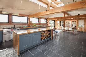 contemporary timber frame home open plan kitchen green oak
