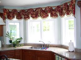 Window Valances Ideas Kitchen Bay Window With Colorful Curtain Ideas And Wooden Cabinet