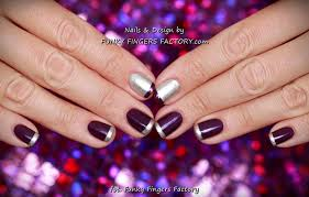 purple and silver french manicure funky fingers factory